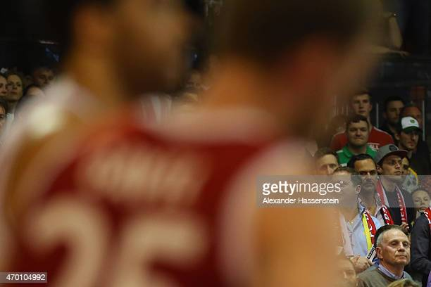 Uli Hoeness attends the Beko Basketball Bundesliga match between FC Bayern Muenchen and Brose Baskets Bamberg at AudiDome on April 17 2015 in Munich...