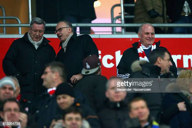 Uli Hoeness attends the Bundesliga match between FC Bayern Muenchen and 1 FSV Mainz 05 at Allianz Arena on March 2 2016 in Munich Germany
