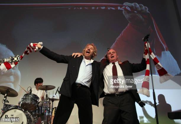 Uli Hoeness celebrates with Thomas Gottschalk at the Uli Hoeness' 60th birthday celebration at Postpalast on January 13 2012 in Munich Germany