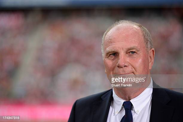 Uli Hoeness looks on prior the Uli Hoeness Cup match between FC Bayern Muenchen and FC Barcelona at Allianz Arena on July 24 2013 in Munich Germany