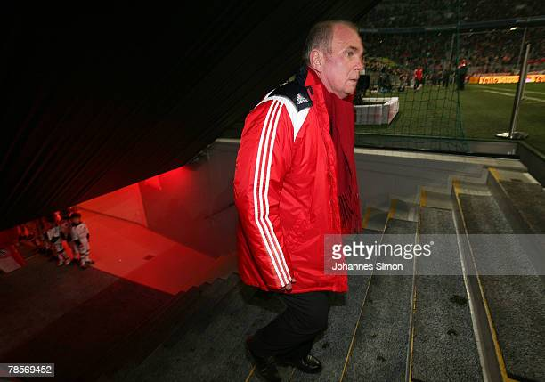 Uli Hoeness Manager of Bayern arrives for the UEFA Cup Group F match between Bayern Munich and Aris Saloniki at the Allianz Arena on December 19 2007...