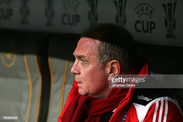 Uli Hoeness Manager of Bayern looks on prior to the UEFA Cup Group F match between Bayern Munich and Aris Saloniki at the Allianz Arena on December...