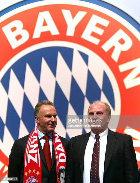 Uli Hoeness manager of Bayern Muenchen pose with KarlHeinz Rummenigge CEO of Bayern Muenchen prior to the FC Bayern Muenchen general meeting at the...