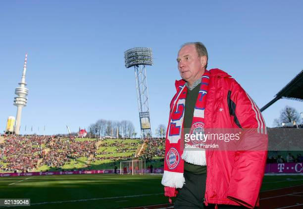 Uli Hoeness Manager of Bayern walks of the pitch before The Bundesliga match between FC Bayern Munich and 04 Bayer Leverkusen at The Olympic Stadium...
