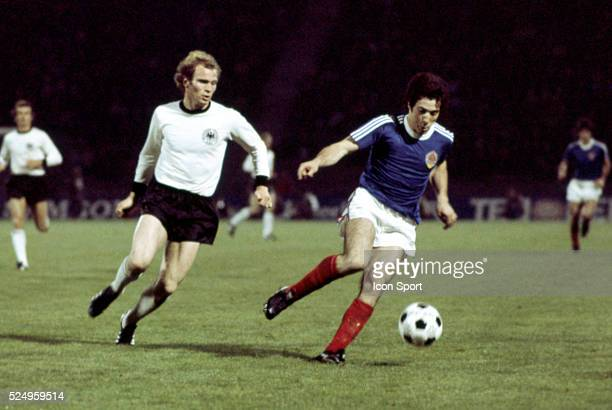 Uli Hoeness of West Germany and Drazen Muzinic of Yugoslavia during the European Championship match between West Germany and Yugoslavia in Stadium...