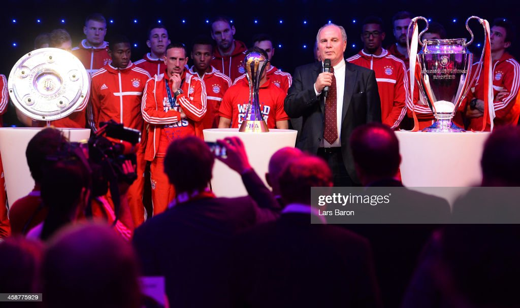 Uli Hoeness, president of Bayern Muenchen, holds a speach during the Banquet after the FIFA Club World Cup Final between FC Bayern Muenchen and Raja Casablanca at Marrakech Stadium on December 21, 2013 in Marrakech, Morocco.