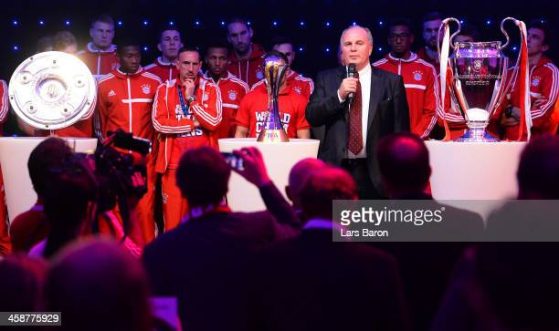 Uli Hoeness president of Bayern Muenchen holds a speach during the Banquet after the FIFA Club World Cup Final between FC Bayern Muenchen and Raja...