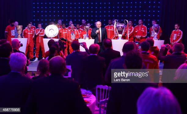 Uli Hoeness, president of Bayern Muenchen, holds a speach during the Banquet after the FIFA Club World Cup Final between FC Bayern Muenchen and Raja...
