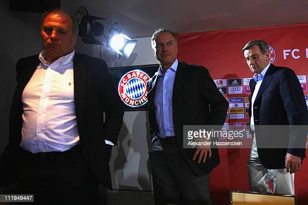 Uli Hoeness President of Bayern Muenchen KarlHeinz Rummenigge CEO of Bayern Muenchen and Karl Hopfner CFO of Bayern Muenchen leaves the press...