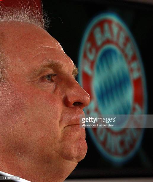 Uli Hoeness President of Bayern Muenchen looks on during a press conference at Bayern's training ground 'Saebener Strasse' on April 10 2011 in Munich...