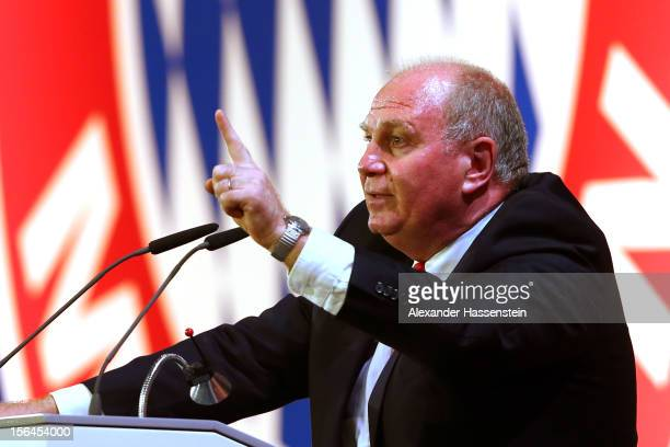 Uli Hoeness President of Bayern Muenchen speaks during the FC Bayern Muenchen general meeting at Audi Dome on November 15 2012 in Munich Germany