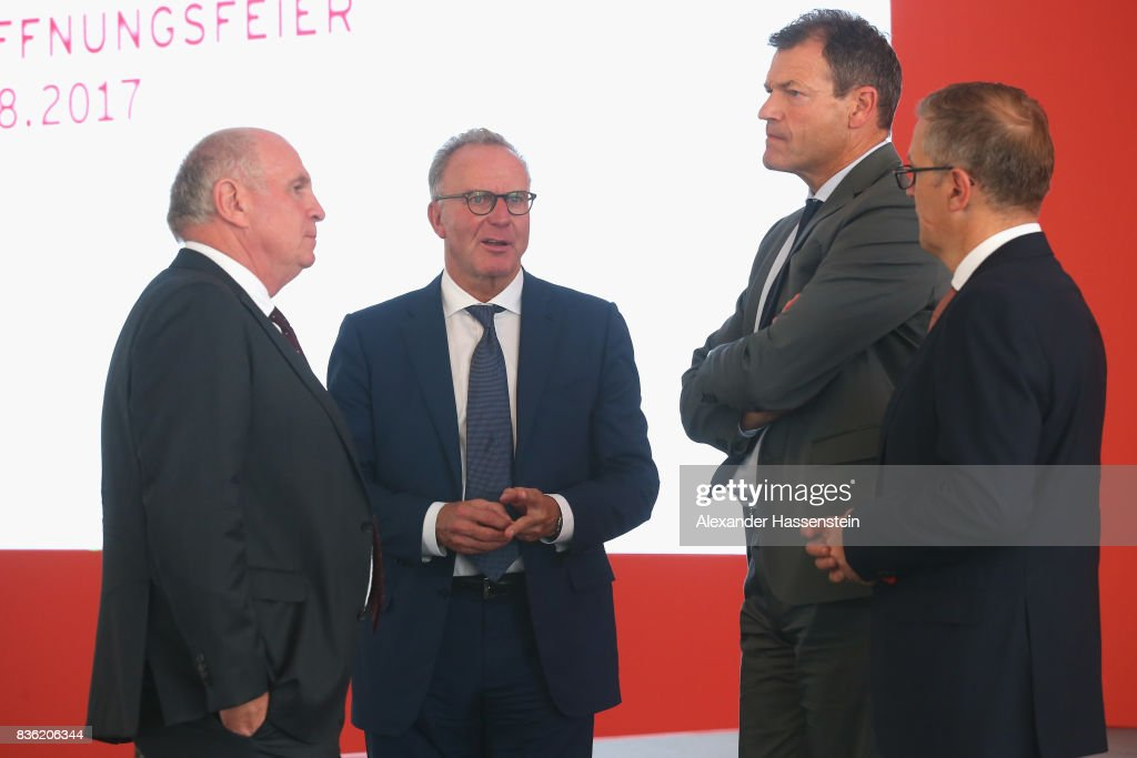 Uli Hoeness, President of FC Bayern Muenchen attends with Karl-Heinz Rummenigge, CEO of FC Bayern Muenchen, Andreas Jung, CMO of FC Bayern Muenchen and Jan-Christian Dreesen, COO of FC Bayern Muenchen the opening ceremony of the FC Bayern Campus at FC Bayern Campus on August 21, 2017 in Munich, Germany.