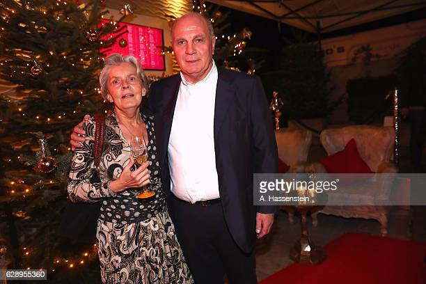 Uli Hoeness President of FC Bayern Muenchen attends with Susi Hoeness the club's Christmas party at H'ugo's bar on December 10 2016 in Munich Germany
