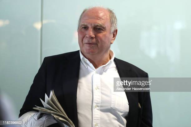 "Uli Hoeness President of FC Bayern Muenchen is seen prior to their departure with the team chartered flight to Athens at Airport München ""Franz Josef..."