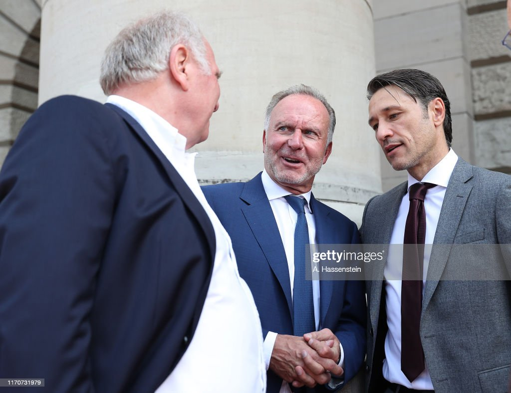 Bavarian Prime Minister Markus Soeder Welcomes Bundesliga Champion And DFB Cup Winner FC Bayern Muenchen : News Photo