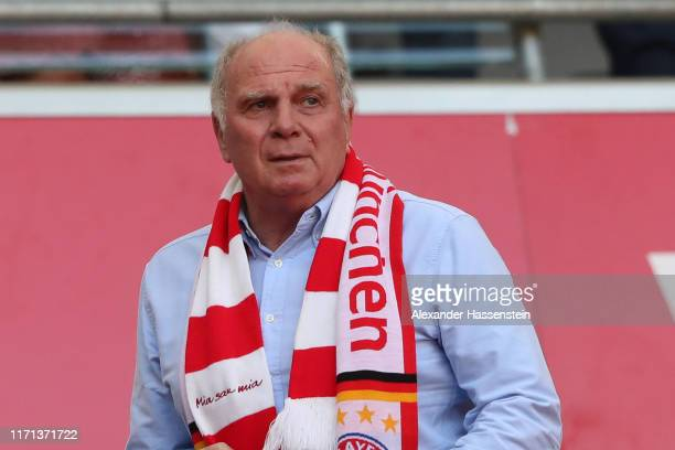 Uli Hoeness, President of FC Bayern Muenchen looks on during the Bundesliga match between FC Bayern Muenchen and 1. FSV Mainz 05 at Allianz Arena on...