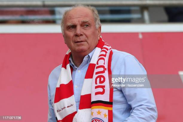 Uli Hoeness President of FC Bayern Muenchen looks on during the Bundesliga match between FC Bayern Muenchen and 1 FSV Mainz 05 at Allianz Arena on...