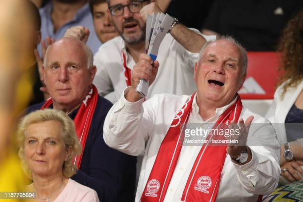 Uli Hoeness, President of FC Bayern Muenchen reacts during the game three of the easycredit Basketball-Bundesliga finals between FC Bayern Basketball...