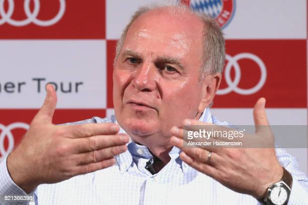 Uli Hoeness President of FC Bayern Muenchen talks to the meida at a press conference at JW Marriott Singapore South Beach Hotel during the Audi...