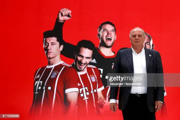 Uli Hoeness President of FC Bayern Muenchen visits the FC Bayern Muenchen Co Ltd Office at German Center for Industry and Trade in Shanghai during...