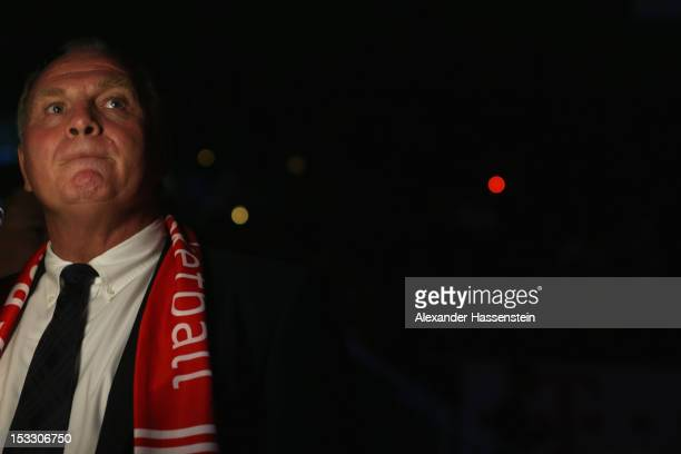 Uli Hoeness President of FC Bayern Muenchenlooks on prior the Beko Basketball match between FC Bayern Muenchen and EWE Baskets Oldenburg at AudiDome...