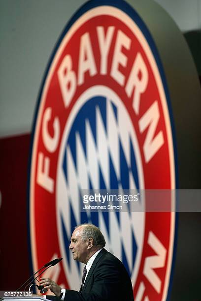 Uli Hoeness thanks the assembly for being elected as new FC Bayern president during the annual general assembly of the FC Bayern Muenchen at AudiDome...