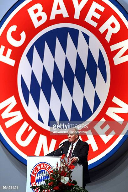 Uli Hoeness the new elected president of FC Bayern Muenchen speaks during the FC Bayern Muenchen general meeting at the Neue Messe Munich on November...