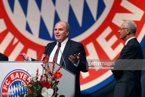 Uli Hoeness the new elected president of FC Bayern Muenchen speaks while Franz Beckenbauer looks on during the FC Bayern Muenchen general meeting at...