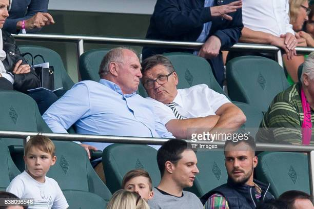 Uli Hoeness und Hans Meyer of Gladbach looks on during the Telekom Cup 2017 Final between SV Werder Bremen and FC Bayern Muenchen at Borussia Park on...