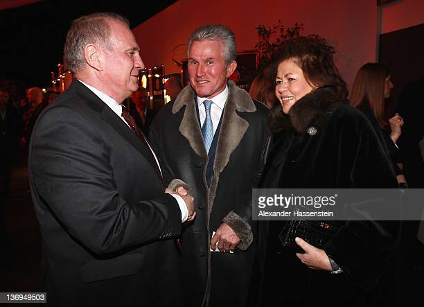 Uli Hoeness welcomes Jupp Heyncke and wife Iris at Uli Hoeness' 60th birthday celebration at Postpalast on January 13 2012 in Munich Germany