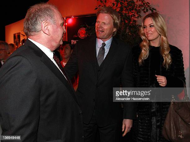 Uli Hoeness welcomes Oliver Kahn and his wife Svenja at Uli Hoeness' 60th birthday celebration at Postpalast on January 13 2012 in Munich Germany