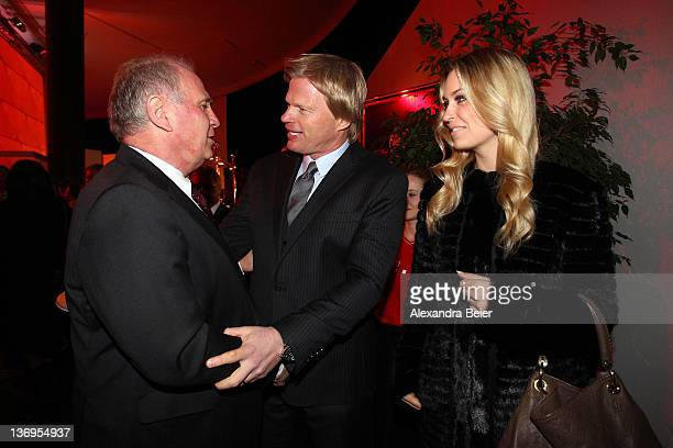 Uli Hoeness welcomes Oliver Kahn and wife Svenja Kahn at Uli Hoeness' 60th birthday celebration at Postpalast on January 13 2012 in Munich Germany