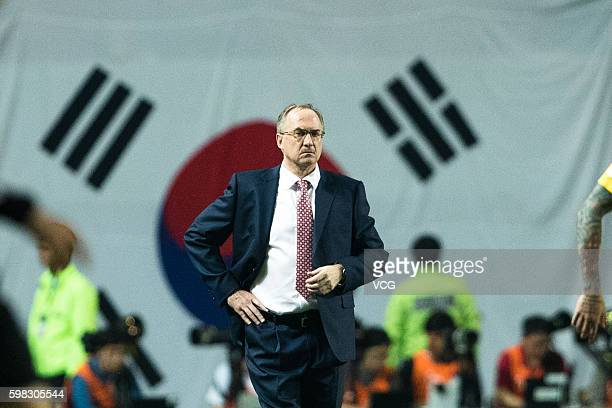 Uli Stielike head coach of South Korean team reacts during the 2018 FIFA World Cup Qualifier Final Round Group A match between South Korea and China...