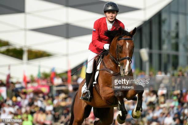 Uliana Batashova of Russia competes during the women's riding show jumping on day two of the UIPM World Cup Modern Pentathlon test event for the...