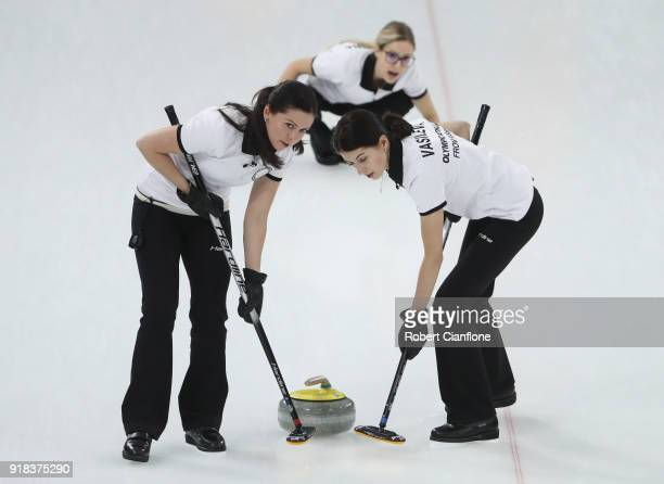 Uliana Vasileva Julia Guzieva and Galina Arsenkina of Olympic Athlete from Russia compete during the Curling Women's Round Robin Session 2 held at...