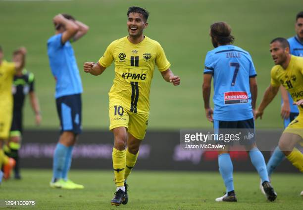 Ulises Davila of the Phoenix celebrates a goal which was later disallowed during the A-League match between the Wellington Phoenix and Sydney FC at...