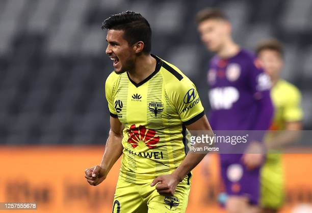 Ulises Davila of the Phoenix celebrates after scoring his teams second goal during the round 21 A-League match between Perth Glory and Wellington...