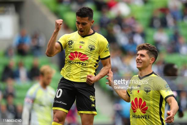 Ulises Davila of the Phoenix celebrates scoring a penalty during the Round 5 A-League match between Melbourne Victory and the Wellington Phoenix at...