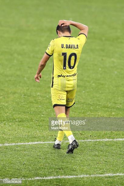 Ulises Davila of the Phoenix looks dejected after missing a penalty spot kick during the round 26 A-League match between the Wellington Phoenix and...