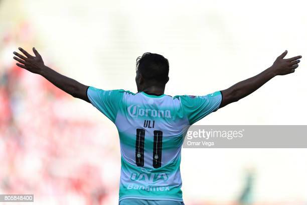 Ulises Dávila of Santos Laguna celebrates after scoring the fifth goal of his team during the friendly match between Chivas and Santos Laguna at...