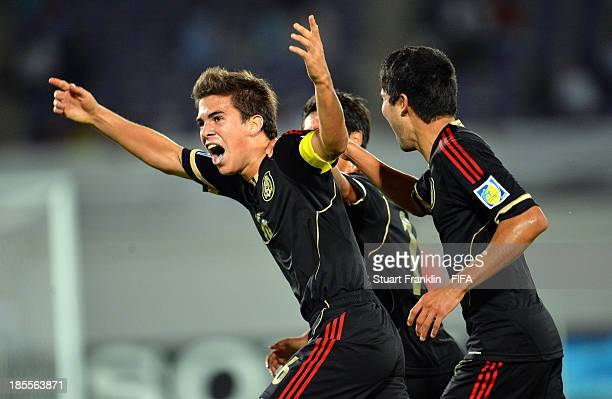 Ulises Rivas of Mexico celebrates scoring his goal during the FIFA U17 group F match between Mexico and Iraq at Khalifa Bin Zayed Stadium on October...