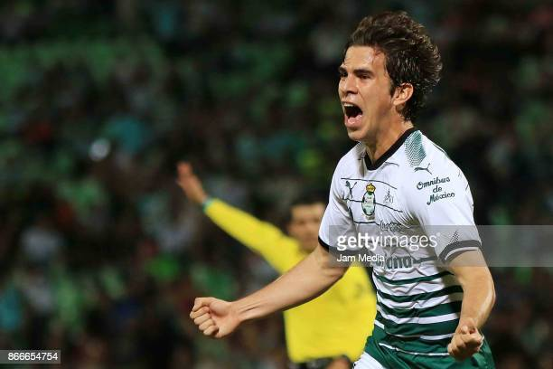Ulises Rivas of Santos celebrate after scoring during a round of 16 match between Santos and Necaxa in the Apertura Tournament 2017 Copa MX at Corona...