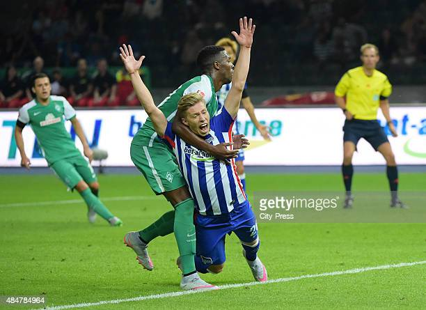 Ulisses Garcia of Werder Bremen and Mitchell Weiser of Hertha BSC during the game between Hertha BSC and Werder Bremen on August 21 2015 in Berlin...