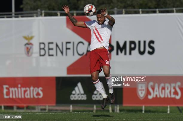 Ulisses Oliveira of UD Vilafranquense heads the ball during the Liga Pro match between SL Benfica B and UD Vilafranquense at Benfica Campus on...