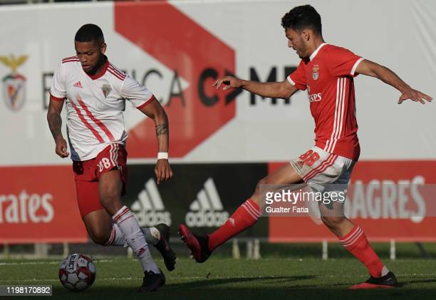 Ulisses Oliveira of UD Vilafranquense with Goncalo Ramos of SL Benfica B in action during the Liga Pro match between SL Benfica B and UD...