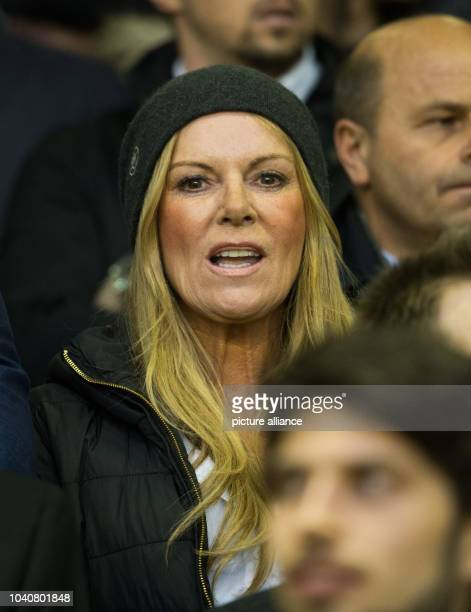 Ulla Klopp the wife of Liverpool's coach Juergen Klopp is seen at the stands during the UEFA Europa League quarter finals soccer match between...