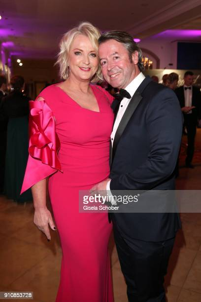 Ulla Kock am Brink and her boyfriend Peter Fissenewert during the Semper Opera Ball 2018 reception at Hotel Taschenbergpalais near Semperoper on...