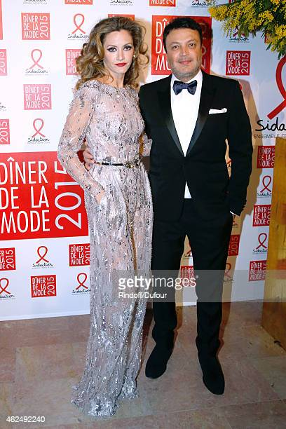Ulla Parker and Fashion Designer Murad Zuhair attend the Sidaction Gala Dinner 2015 at Pavillon d'Armenonville on January 29 2015 in Paris France