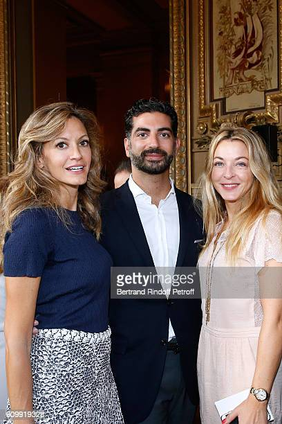 Ulla Parker Fahd Hariri and Arabelle Reille Mahdavi attend Cyril Karaoglan receives the Medal of Commander of Arts and Letters at Opera Garnier on...