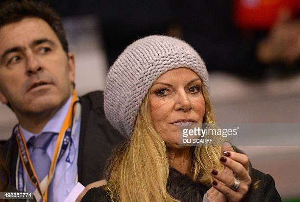 Ulla Sandrock the wife of Liverpool's German manager Jurgen Klopp claps during a UEFA Europa League group B football match between Liverpool and...